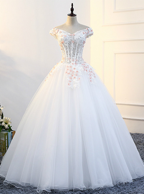 In Stock:Ship in 48 hours Ball Gown Off The Shoulder Quinceanera Dresses