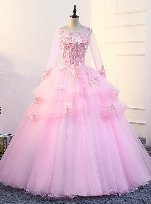In Stock:Ship in 48 hours Pink Long Sleeve Quinceanera Dresses