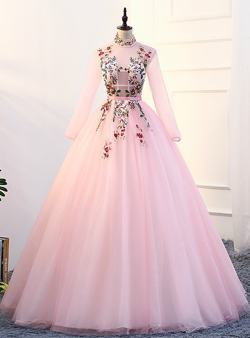 In Stock:Ship in 48 hours Pink High Neck Backless Quinceanera Dresses
