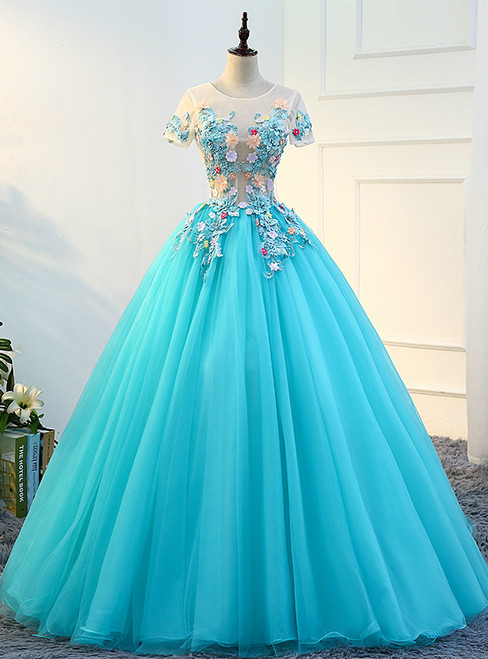 In Stock:Ship in 48 hours Blue Tulle Short Sleeve Quinceanera Dresses