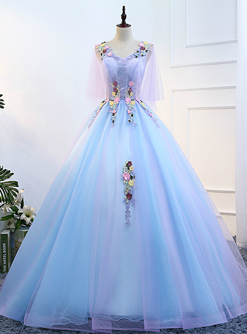 In Stock:Ship in 48 hours Blue V-neck Tulle Floor Length Quinceanera Dresses