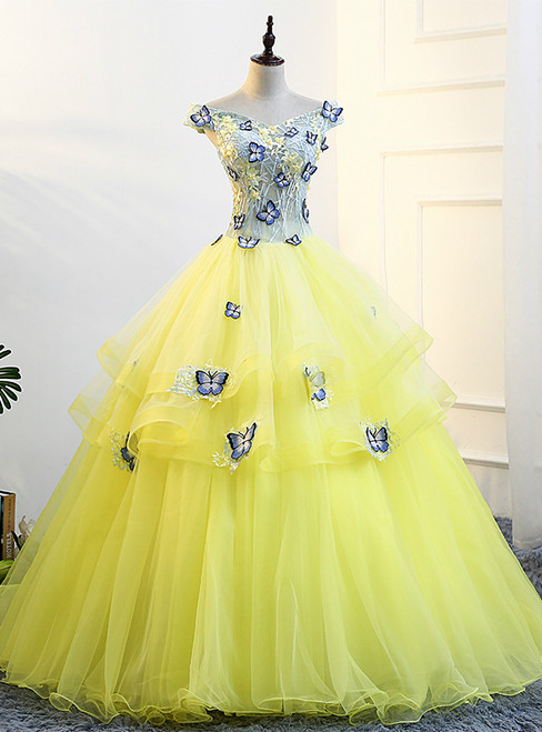 In Stock:Ship in 48 hours Yellow Off The Shoulder Quinceanera Dresses