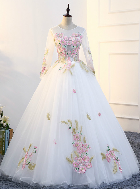 In Stock:Ship in 48 hours White Long Sleeve Tulle Quinceanera Dresses