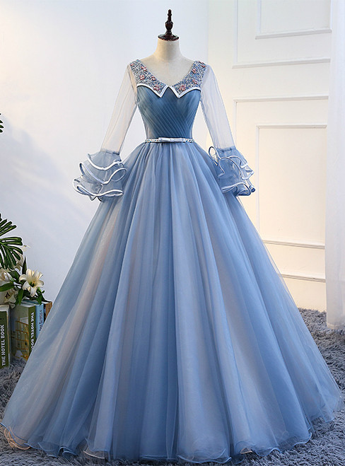 In Stock:Ship in 48 hours Blue Long Sleeve Tulle Quinceanera Dresses