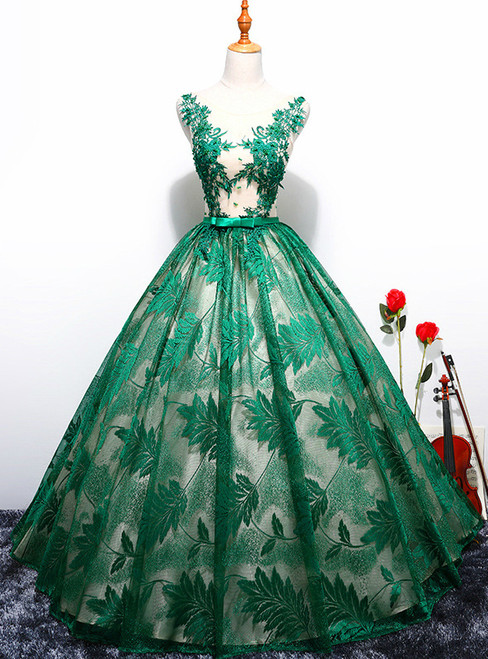 In Stock:Ship in 48 hours Green Ball Gown Lace Quinceanera Dresses