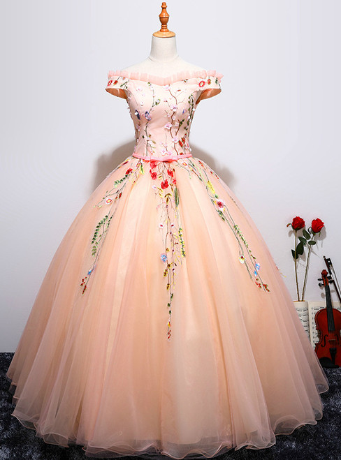 In Stock:Ship in 48 hours Pink Off The Shoulder Quinceanera Dresses