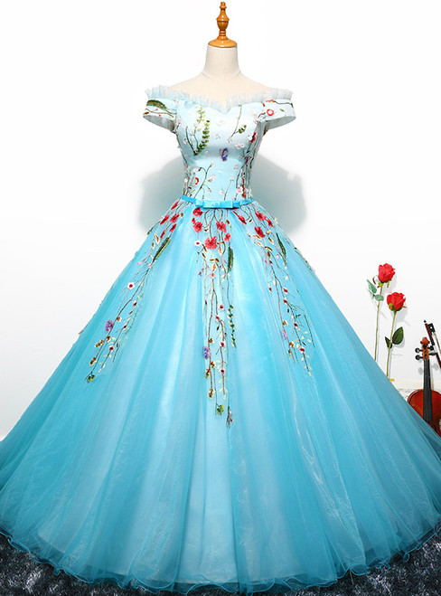 In Stock:Ship in 48 hours Blue Off The Shoulder Tulle Quinceanera Dresses
