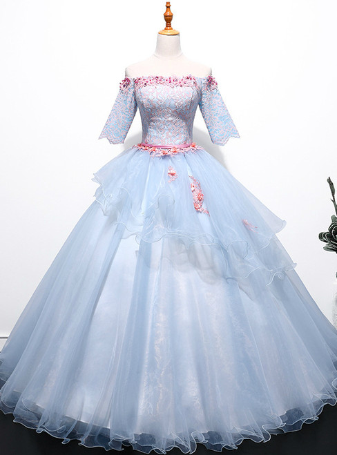 In Stock:Ship in 48 hours Blue Short Sleeve Lace Quinceanera Dresses