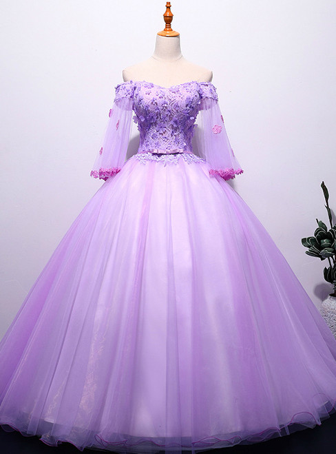 In Stock:Ship in 48 hours Purple Appliques Tulle Quinceanera Dresses