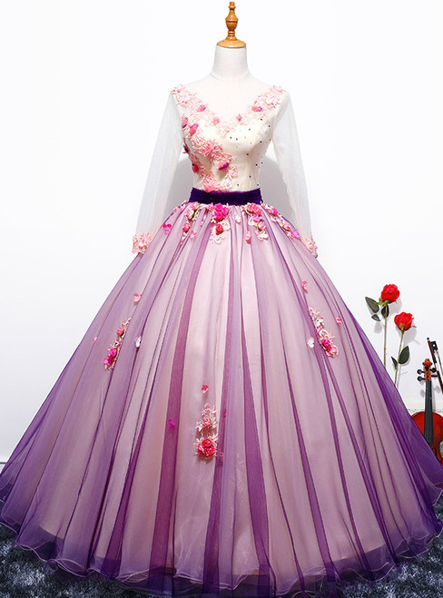 In Stock:Ship in 48 hours V-neck Purple Tulle Quinceanera Dresses