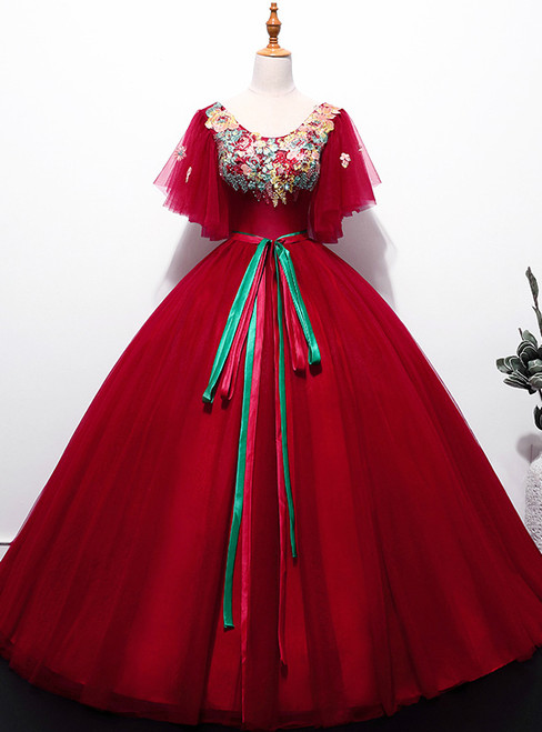 In Stock:Ship in 48 hours Burgundy Tulle Quinceanera Dresses With Sash