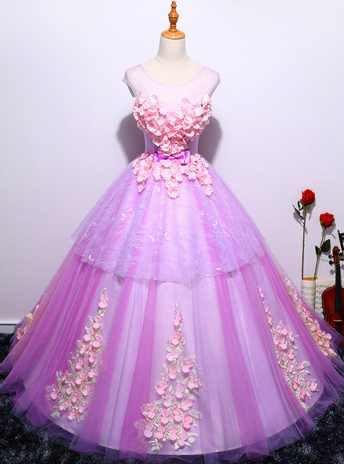 Purple Ball Gown Tulle Appliques Quinceanera Dresses