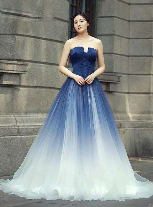 b0d32cf6174 Blue White Tulle Strapless Backless Sleeveless Floor Length Wedding Dress
