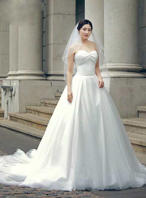 White Ball Gown Sweetheart Neck Backless Train Wedding Dress