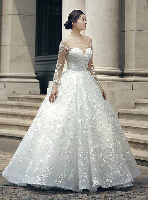 White Ball Gown Long Sleeve Backless Appliques Wedding Dress