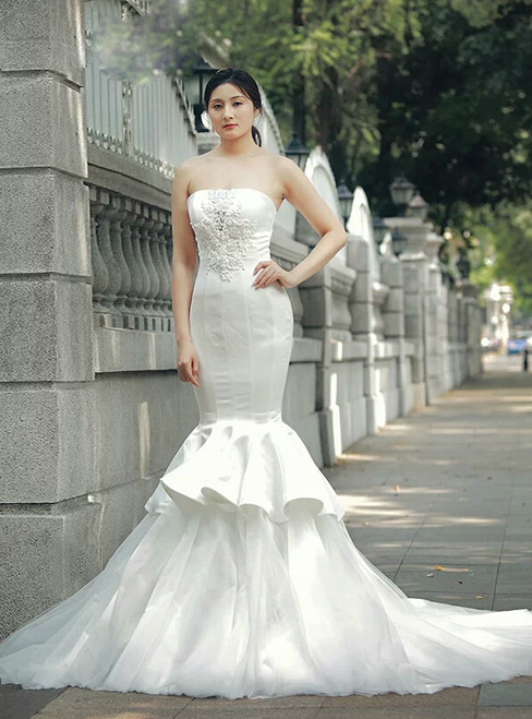 White Mermaid Strapless Tulle Satin With Beading Wedding Dress