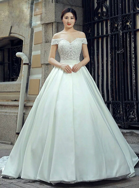 White Ball Gown Satin Off The Shoulder Appliques Wedding Dress