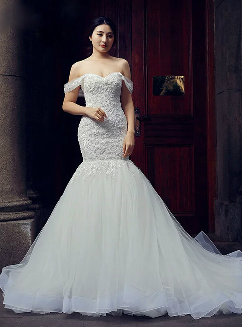 White Mermaid Tulle Off The Shoulder Appliques Wedding Dress