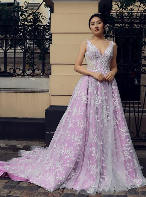Purple V-neck Backless Tulle Appliques Train Wedding Dress