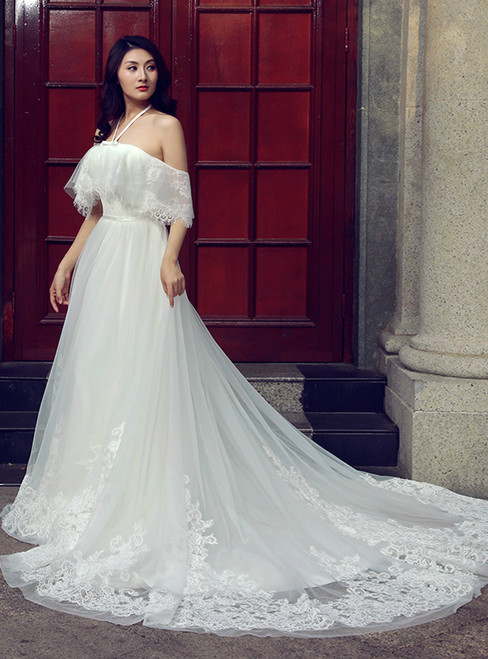 A-line White Tulle Lace Halter Backless Train Wedding Dress