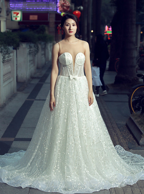 Sexy White See Through Neck Tulle Backless With Bow Wedding Dress