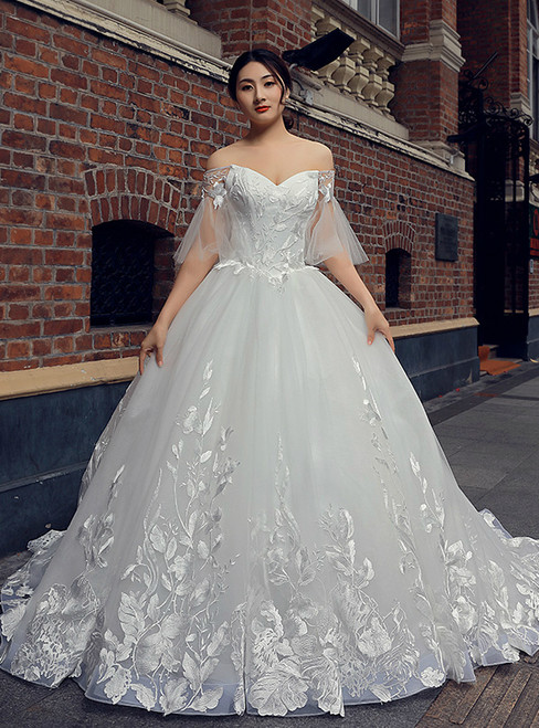 White Ball Gown Tulle Appliques Off The Shoulder Wedding Dress