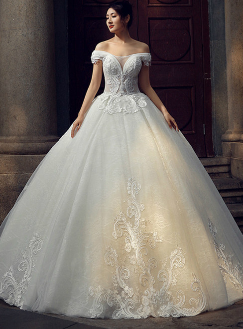 White Ball Gown Off The Shoulder Appliques Floor Length Wedding Dress