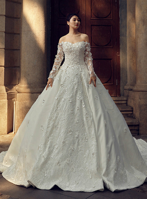 White Ball Gown Off The Shoulder Long Sleeve Backless Wedding Dress