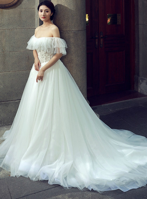 White Ball Gown Off The Shoulder Tulle Lace Backless Wedding Dress