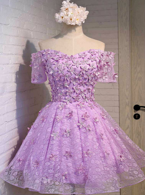 Purple Homecoming Dress  Short Sleeve  Lace   Cocktail
