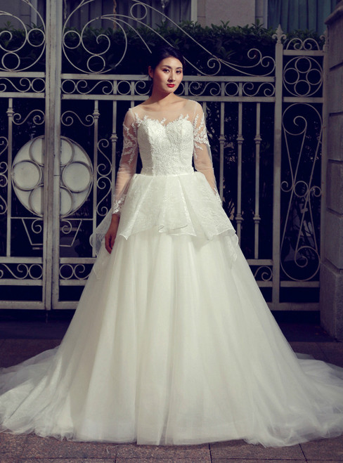 Ball Gown White Tulle Appliques Long Sleeve Sexy Back Wedding Dress