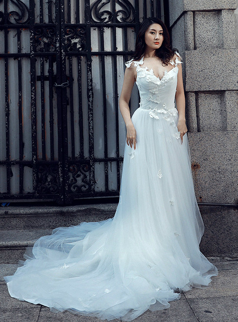 A-Line White V-neck Backless Tulle Train Appliques Wedding Dress