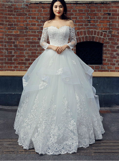 White Tulle Lace Appliques Off The Shoulder Long Sleeve Wedding Dress