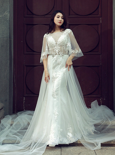 Sexy White Sheath Tulle Lace Corset Backless Wedding Dress