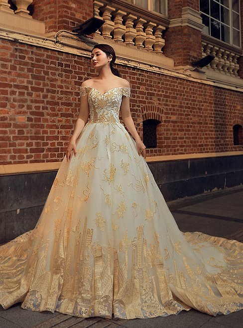 White Ball Gown Tulle Gold Appliques Off The Shoulder Wedding Dress