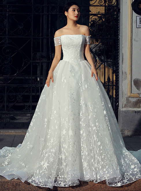 White Ball Gown Tulle Off The Shoulder Long Train Wedding Dress
