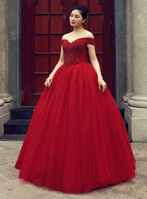 Burgundy Ball Gown Off The Shoulder With Beading Wedding Dress