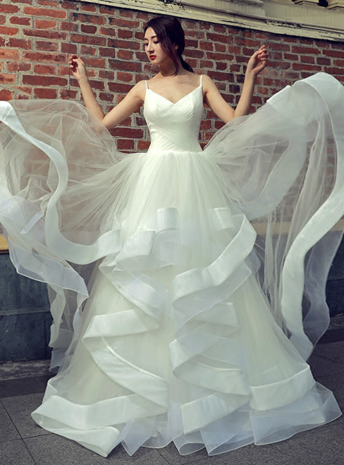 White Tulle Spaghetti Straps Backless Floor Length Wedding Dress
