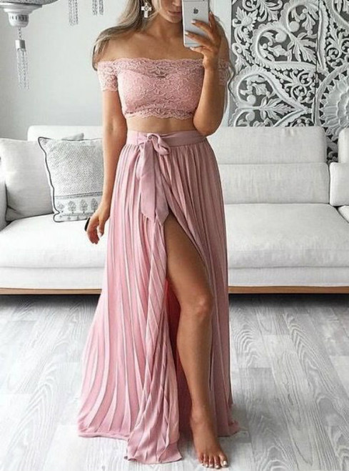 Dusty Pink Chiffon Lace Two Piece Off The Shoulder Prom Dresses