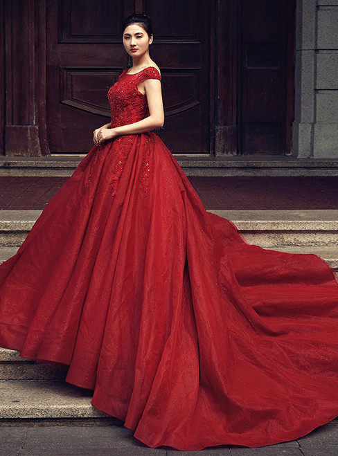 Burgundy Ball Gown Bateau Tulle Backless Appliques Wedding Dress