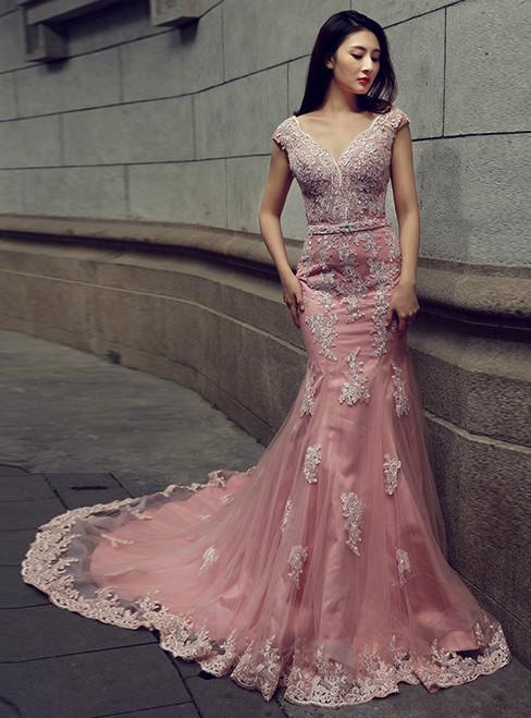 Pink Mermaid V-neck Backless Tulle Appliques Wedding Dress