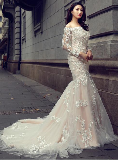 Champagne Mermaid Off The Shoulder Long Sleeve Wedding Dress
