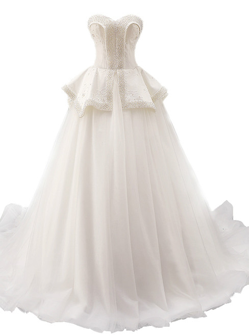 White Ball Gown Tulle Sweetheart Neck With Beading Wedding Dress