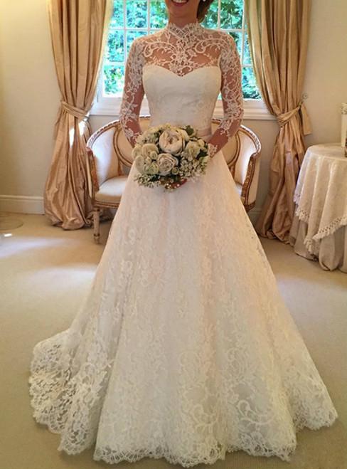 A Line Wedding Dress  Ivory Wedding Dress  Lace Wedding Dress