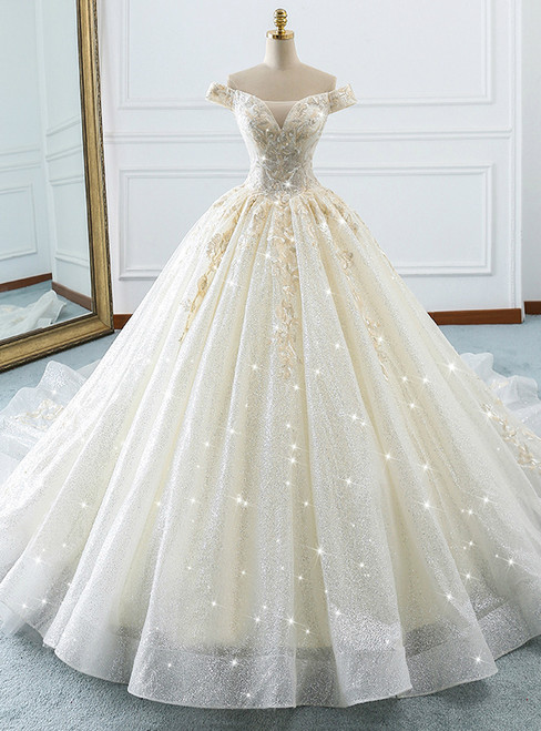 Champagne Ball Gown Off The Shoulder Tulle Sequins Wedding Dress