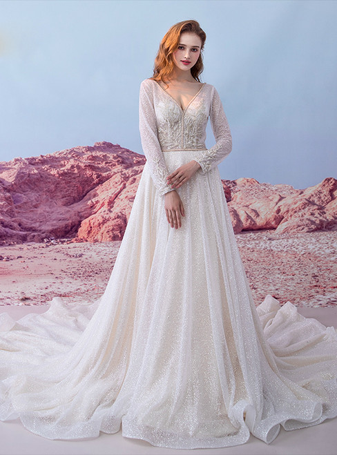 Light Champagne Long Sleeve V-neck Backless Sequins Wedding Dress