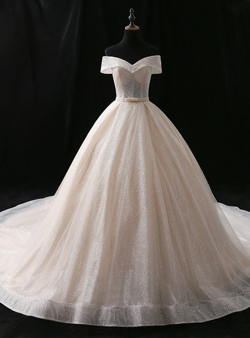 Champagne Ball Gown Sequins Off The Shoulder Long Train Wedding Dress