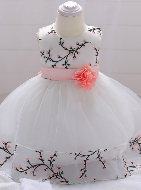In Stock:Ship in 48 Hours White Tulle Embroidery Little Girl Dress