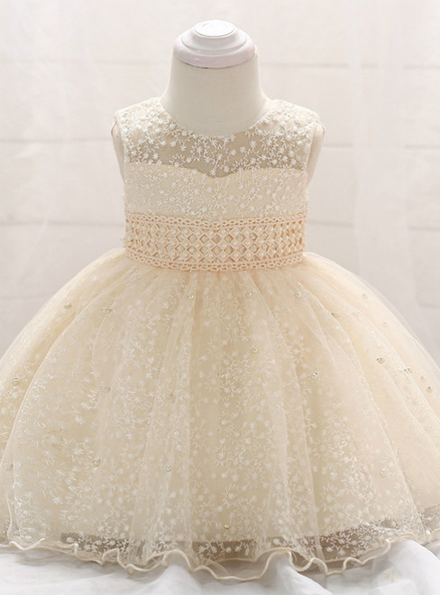 In Stock:Ship in 48 Hours Champagne Lace With Bow Little Girl Dress