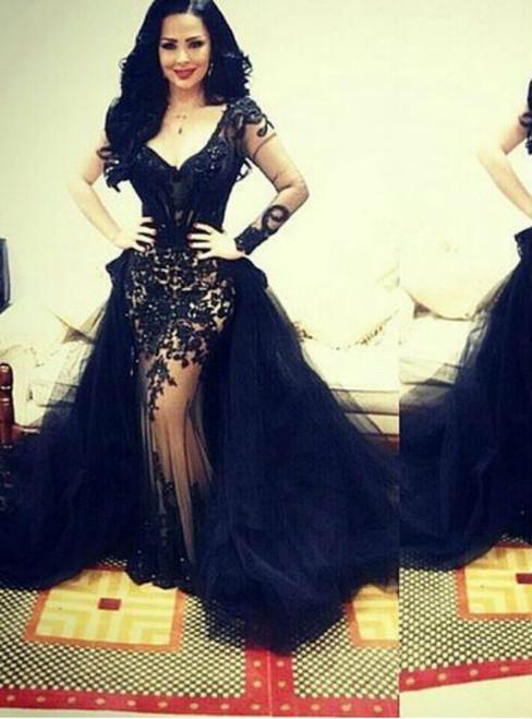 326ea4747ac Women Black Tulle Lace Long Sleeve Formal Prom Dresses